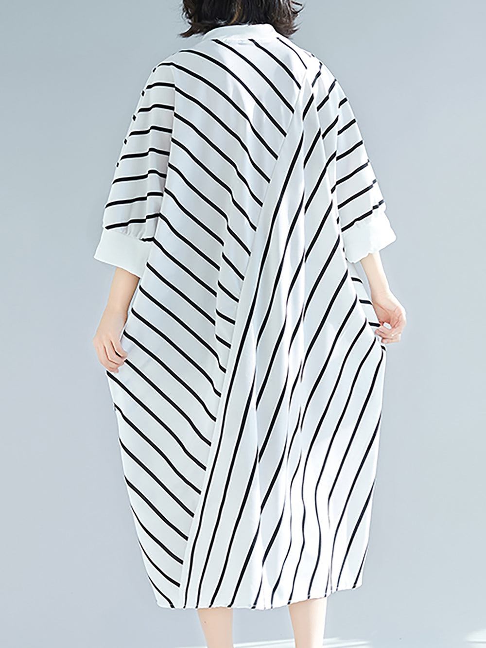 Printed Buttoned Striped Casual 3/4 Sleeve Linen Dress