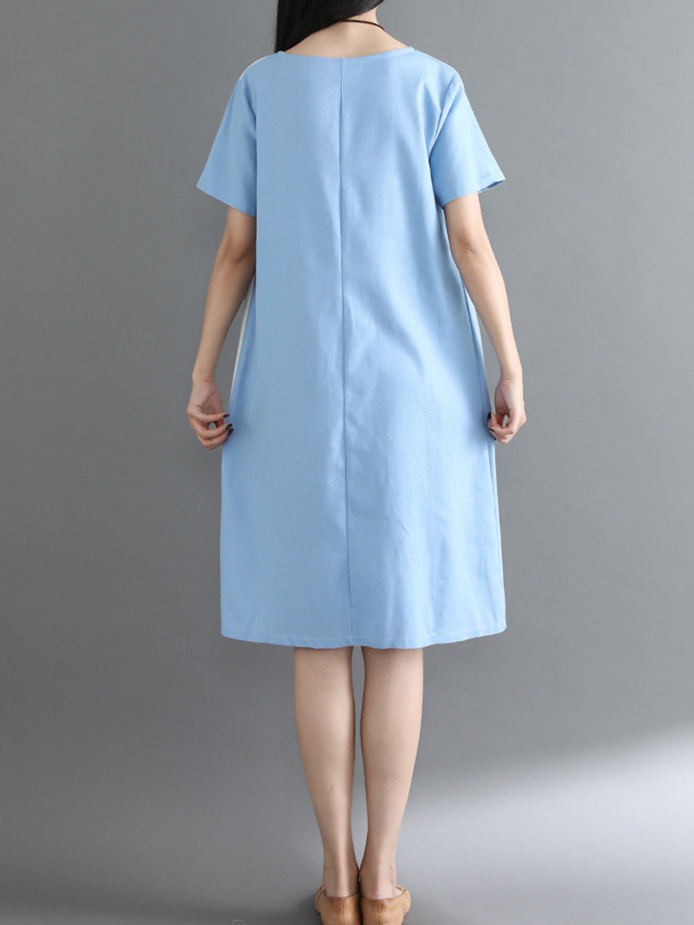 Cotton Casual Shift Color-block Dress
