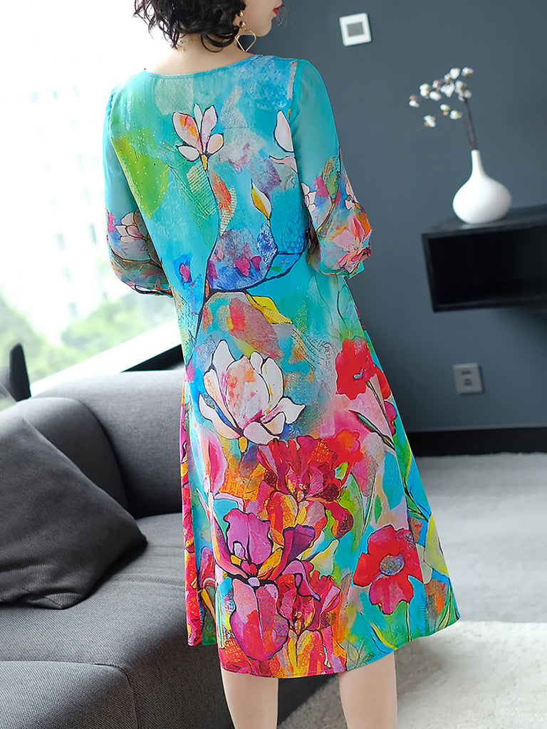 Floral Crew Neck 3/4 Sleeve Basic Midi Dress