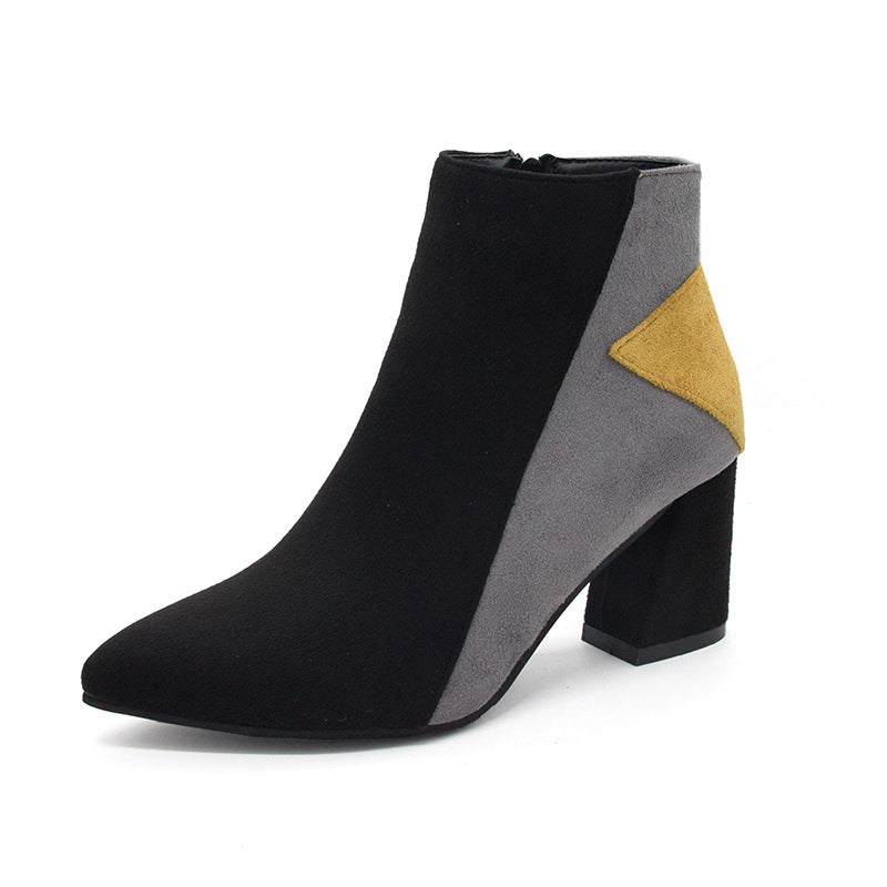 Color Block Chunky Heel Panel Date Suede Boots