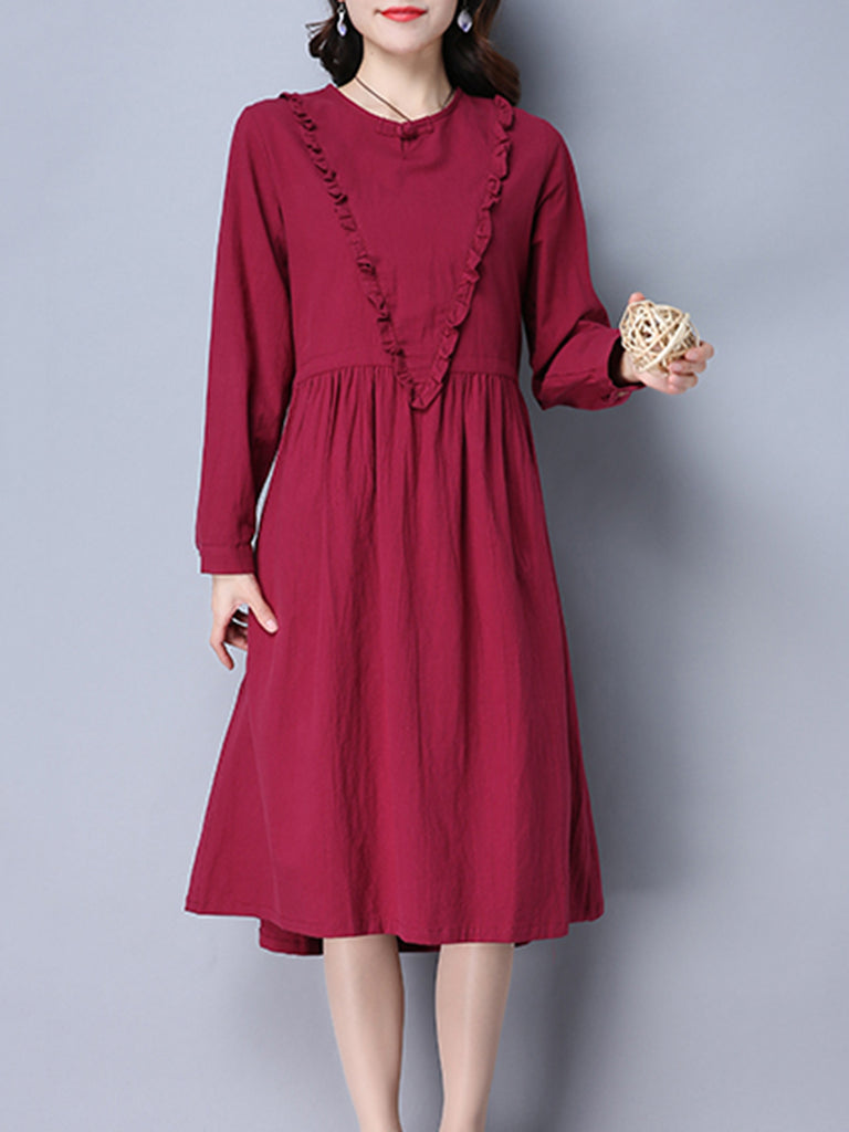 Casual Shift Crew Neck Linen Dress