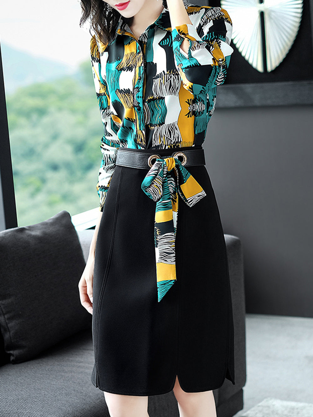 Elegant Two Pieces Geometric Printed Shirt Dress