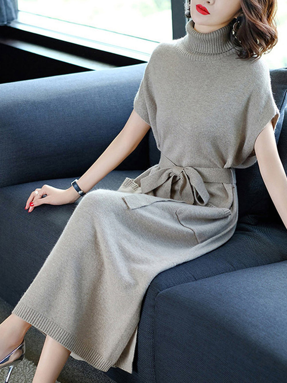 Turtleneck Batwing Sleeve Knitted Dress