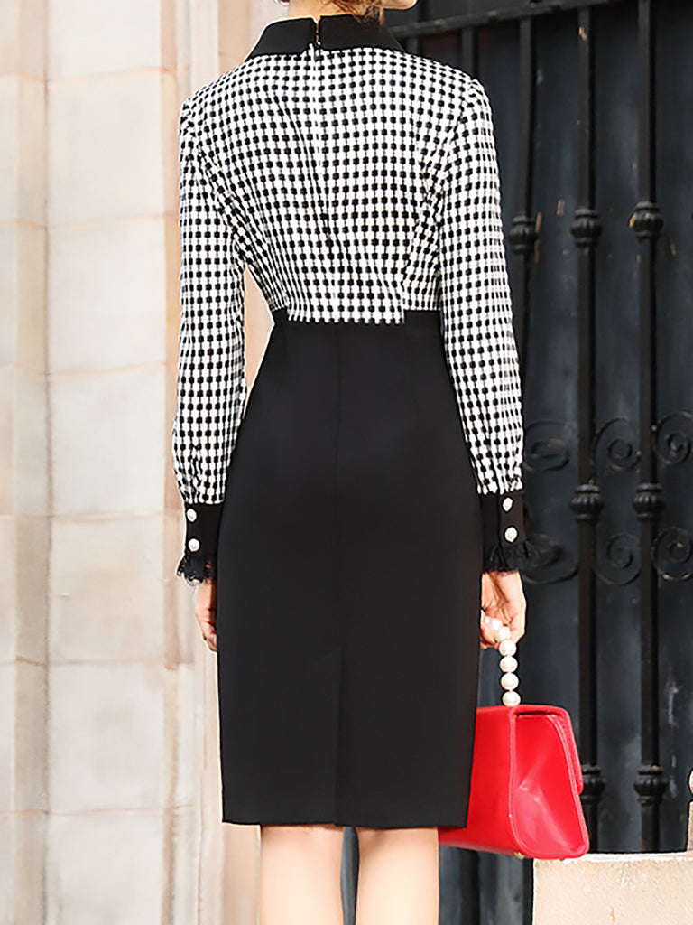 Black-White Keyhole Checkered/plaid Vintage Midi Dress