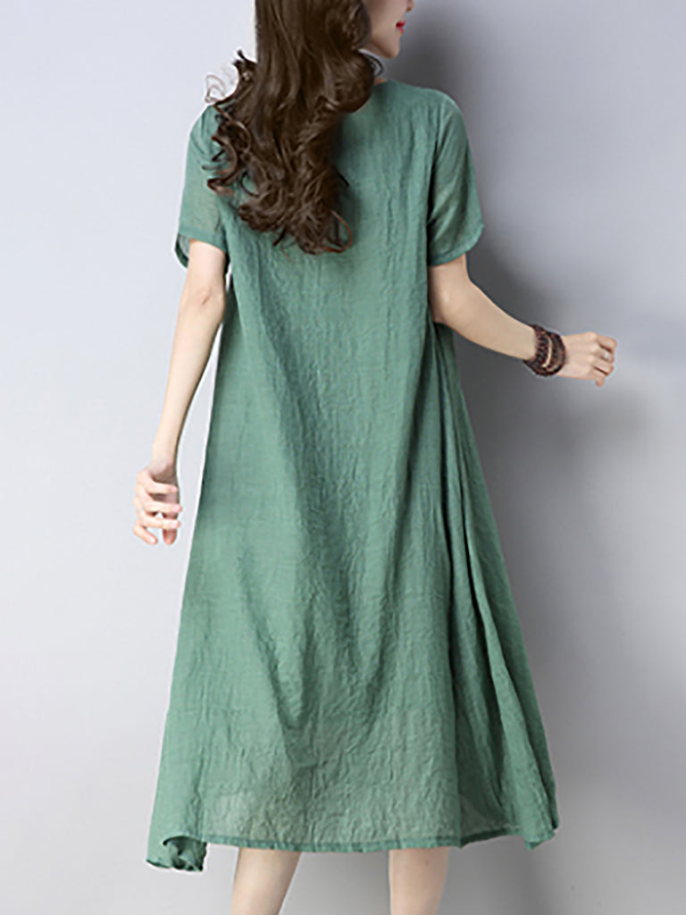 Light Green Cotton Casual Shift Printed Dress