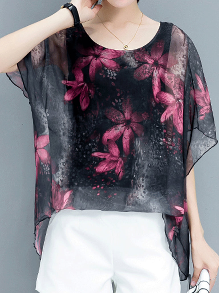 Cape Sleeve Casual Blouse