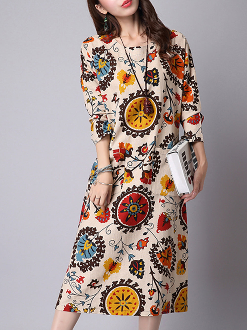 Crew Neck Shift Casual Printed Dress