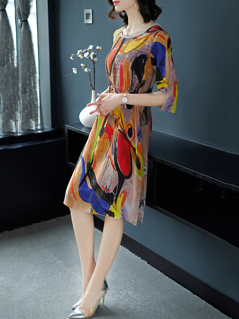Multicolor Crew Neck Cold Shoulder Chiffon  Dress
