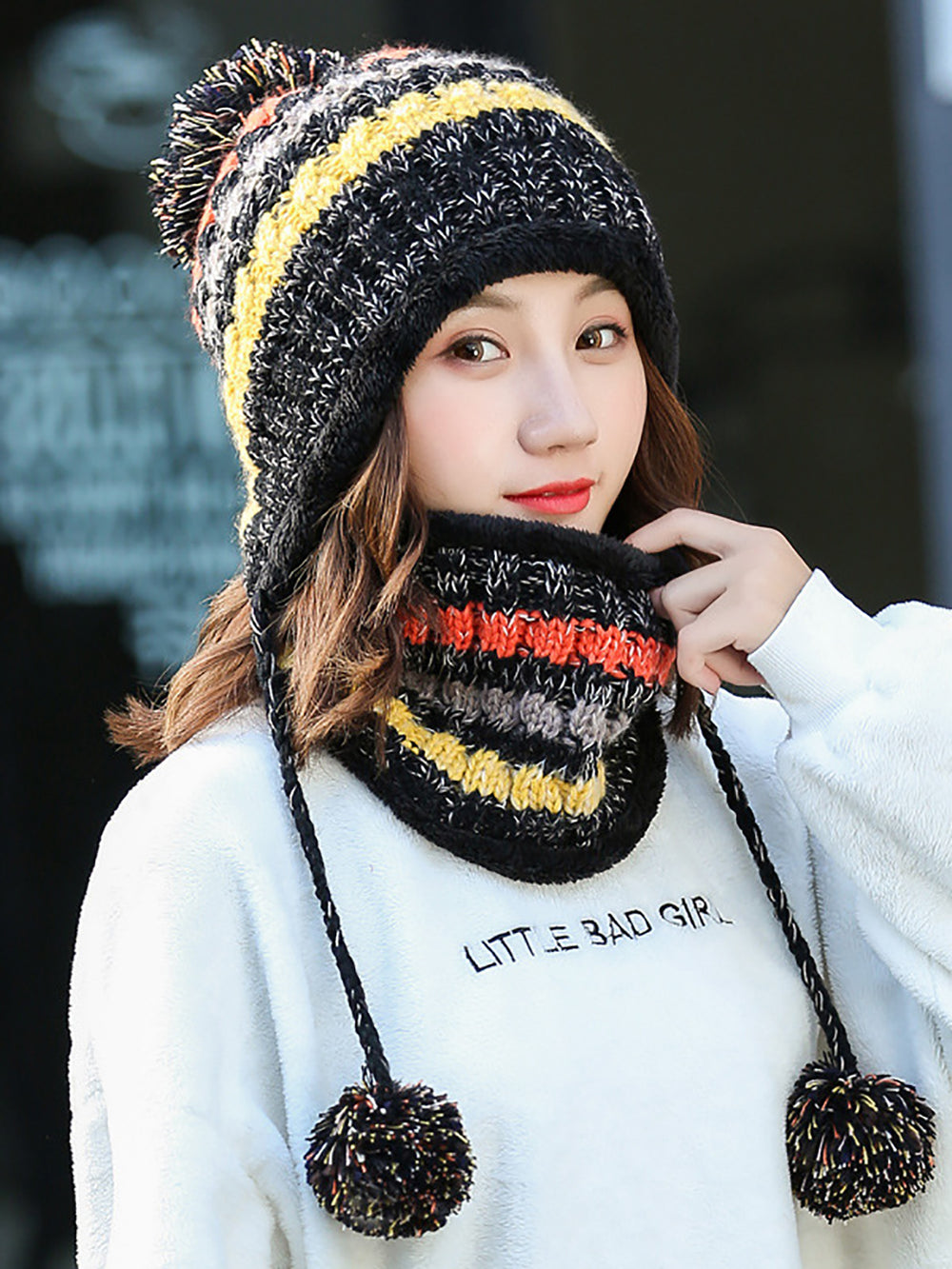 Striped Casual Hat With Scarf Two Piece
