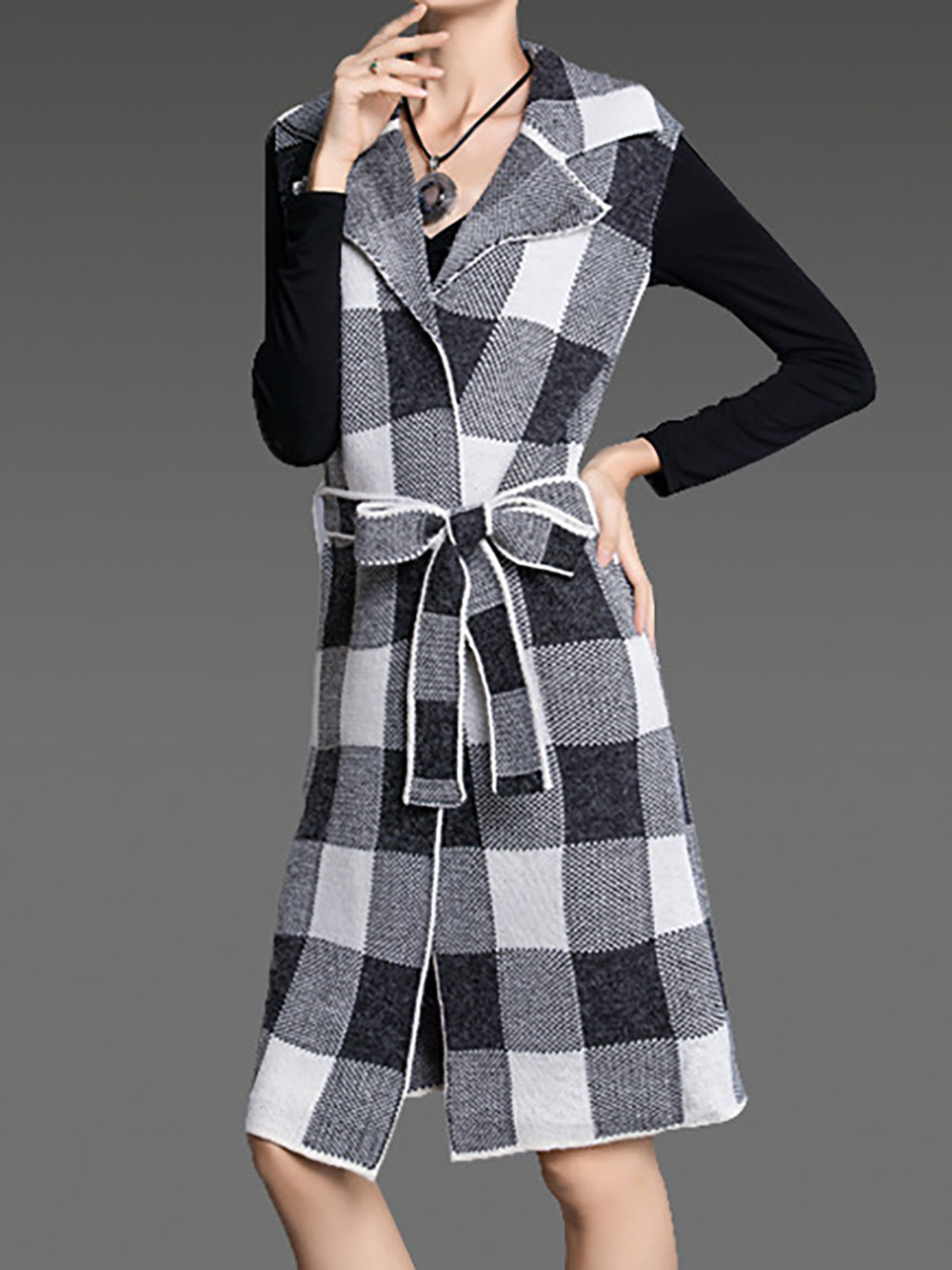 Checkered/plaid Sleeveless Lapel Work Shift Vests And Gilet