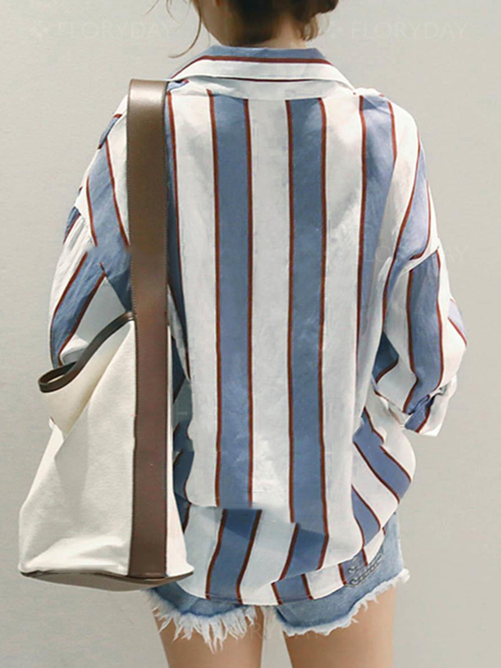 Shawl Collar Long Sleeve Casual Stripes Blouse