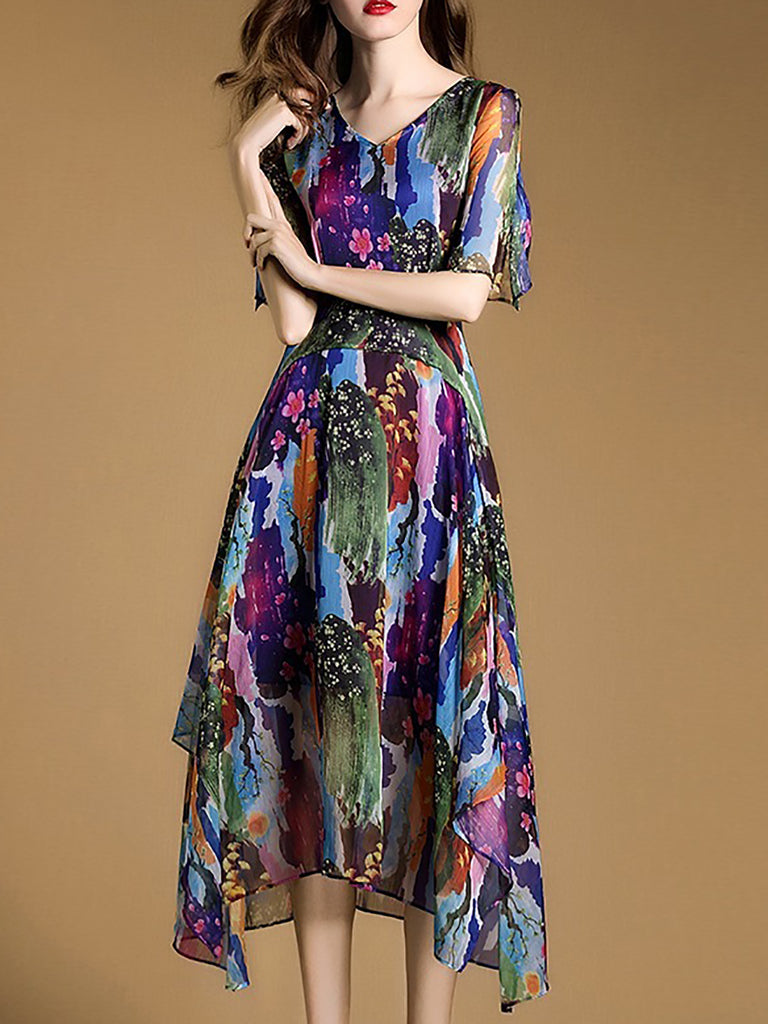 Multicolor V Neck Beach Floral Midi Dress