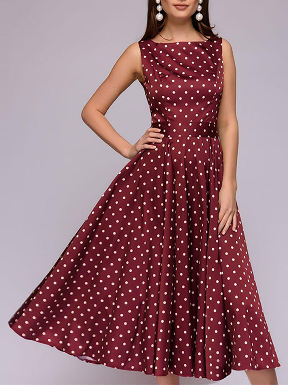 Polka Dots Square Neck Red Swing Party Sexy Midi Dress With Belt