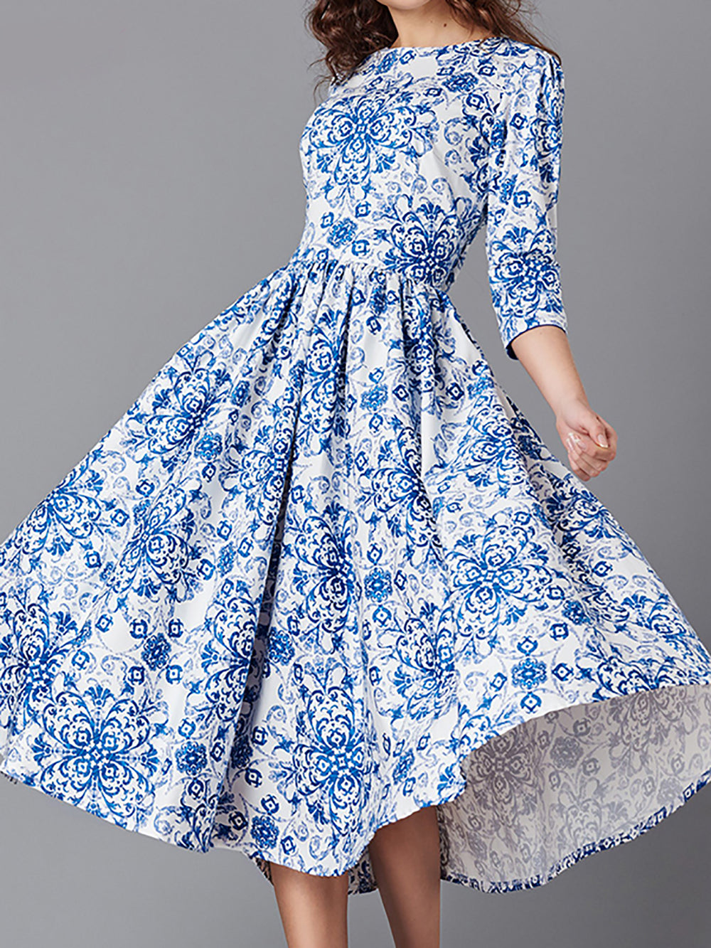 High-Rise Swing Daily Printed Floral Midi Dress