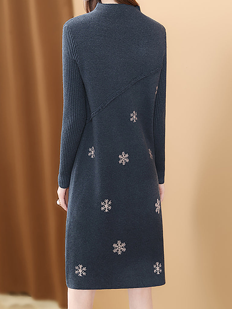Blue Shift Stand Collar Knitted Printed Graphic Sweater Dress