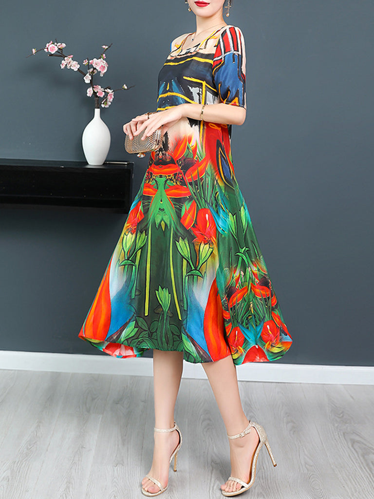 Multicolor Casual Abstract Dress