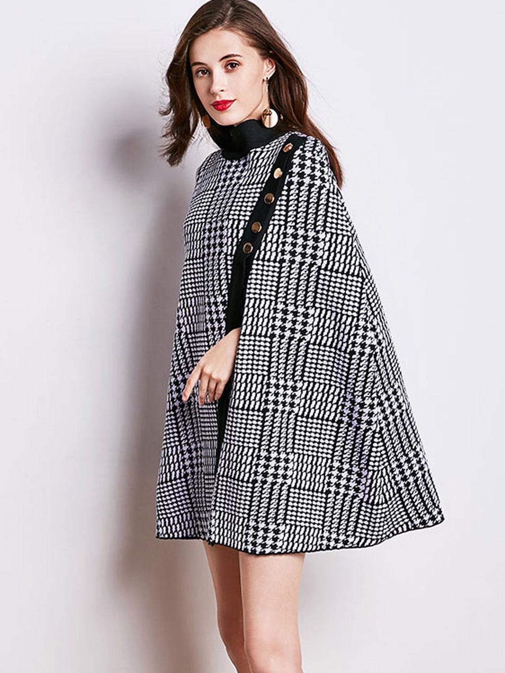 Fashion Plaid Cloak Poncho with Dress Two Piece Outfits