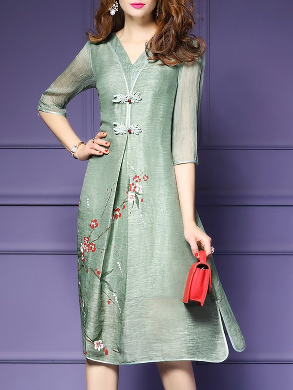 Green V Neck Elegant Shift Printed Midi Dress