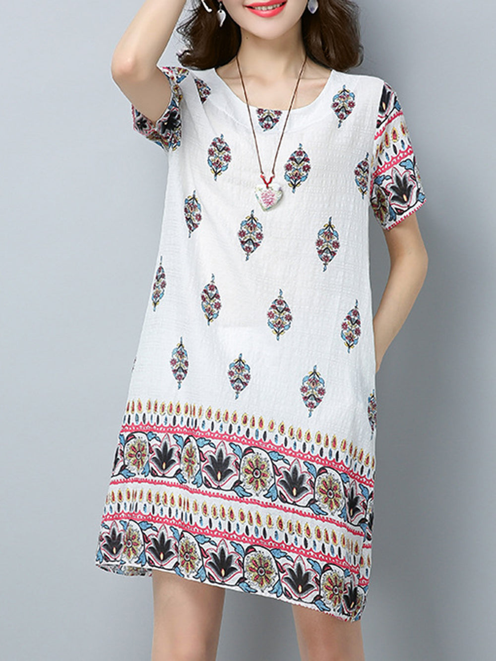 Crew Neck Linen Pockets Short Sleeve Floral Printed Dress