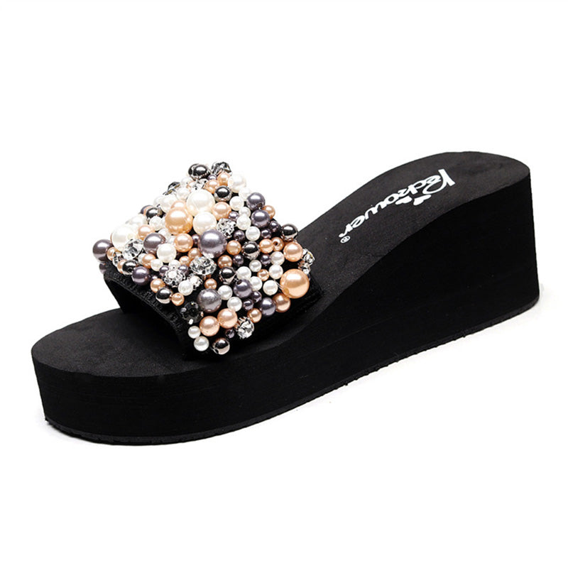 Daily Slip On Imitation Pearl Wedge Heel Slippers