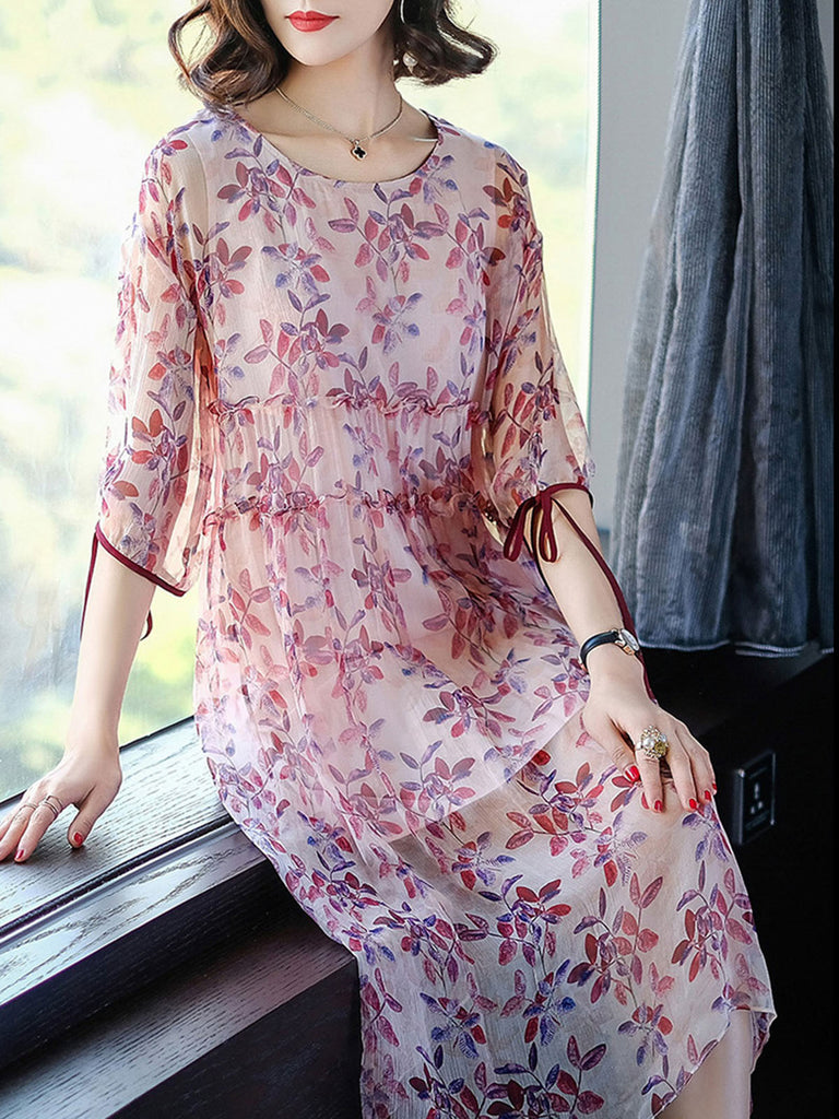Pink 3/4 Sleeve Crew Neck Floral Midi Dress