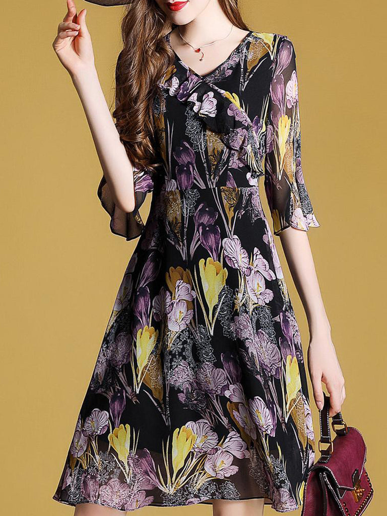Black Printed Elegant Floral Dress