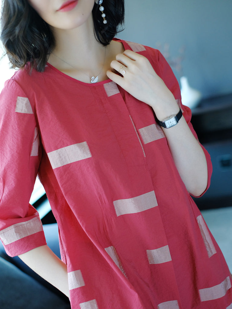 Casual Short Sleeve Printed Crew Neck Plus Size Dress