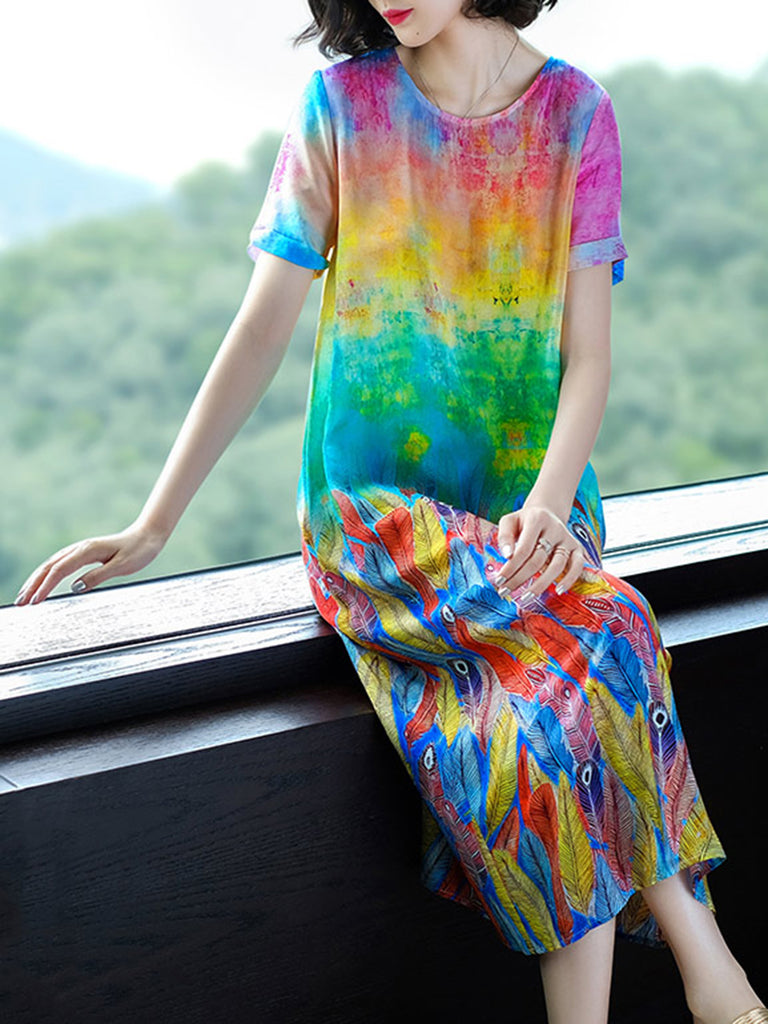 Multicolor  Leaf Printed Casual A-line Chiffon Dress
