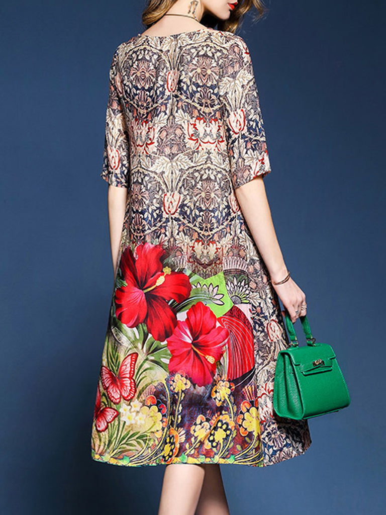 3/4 Sleeve Shift Casual Floral  Dress