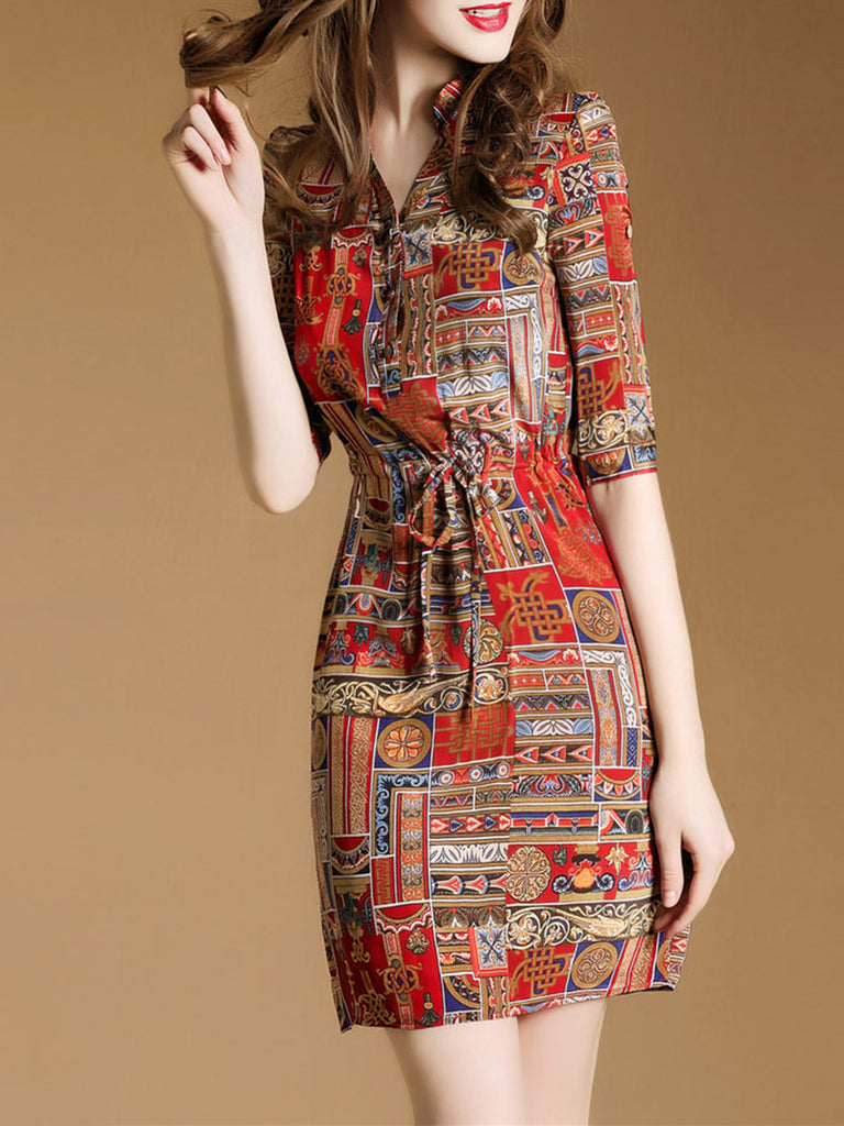 Red Half Sleeve Printed Elegant Dress
