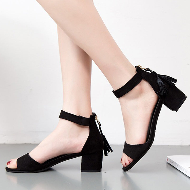Tassel Flocking Chunky Heel Pumps