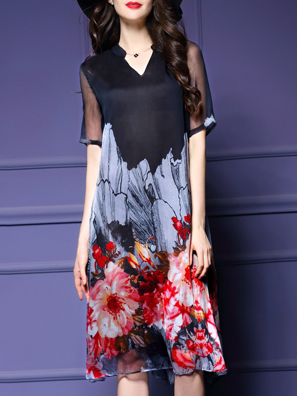 Black Swing Floral Printed 3/4 Sleeve  Dress
