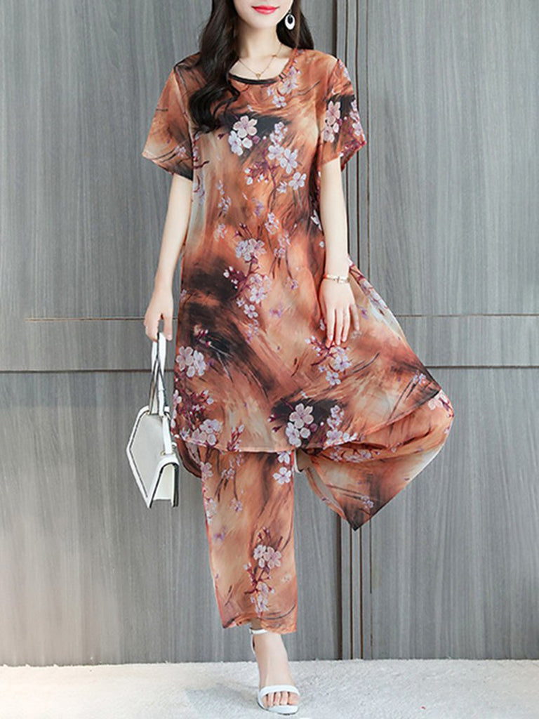 Floral Printed Short Sleeve Casual Chiffon Women's Set