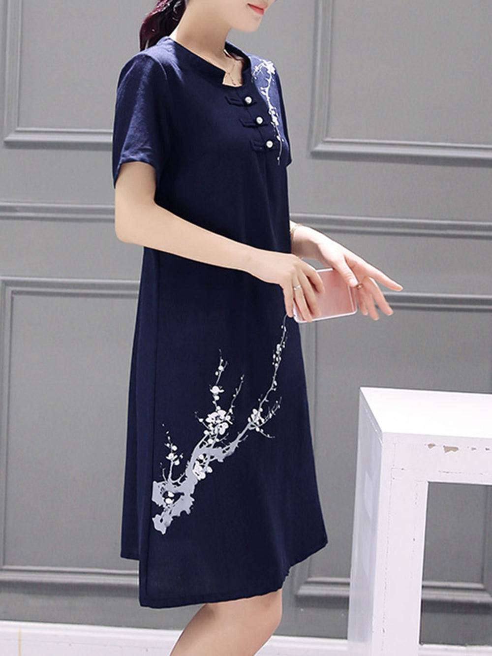 Casual Cotton Floral-print Shift Dress