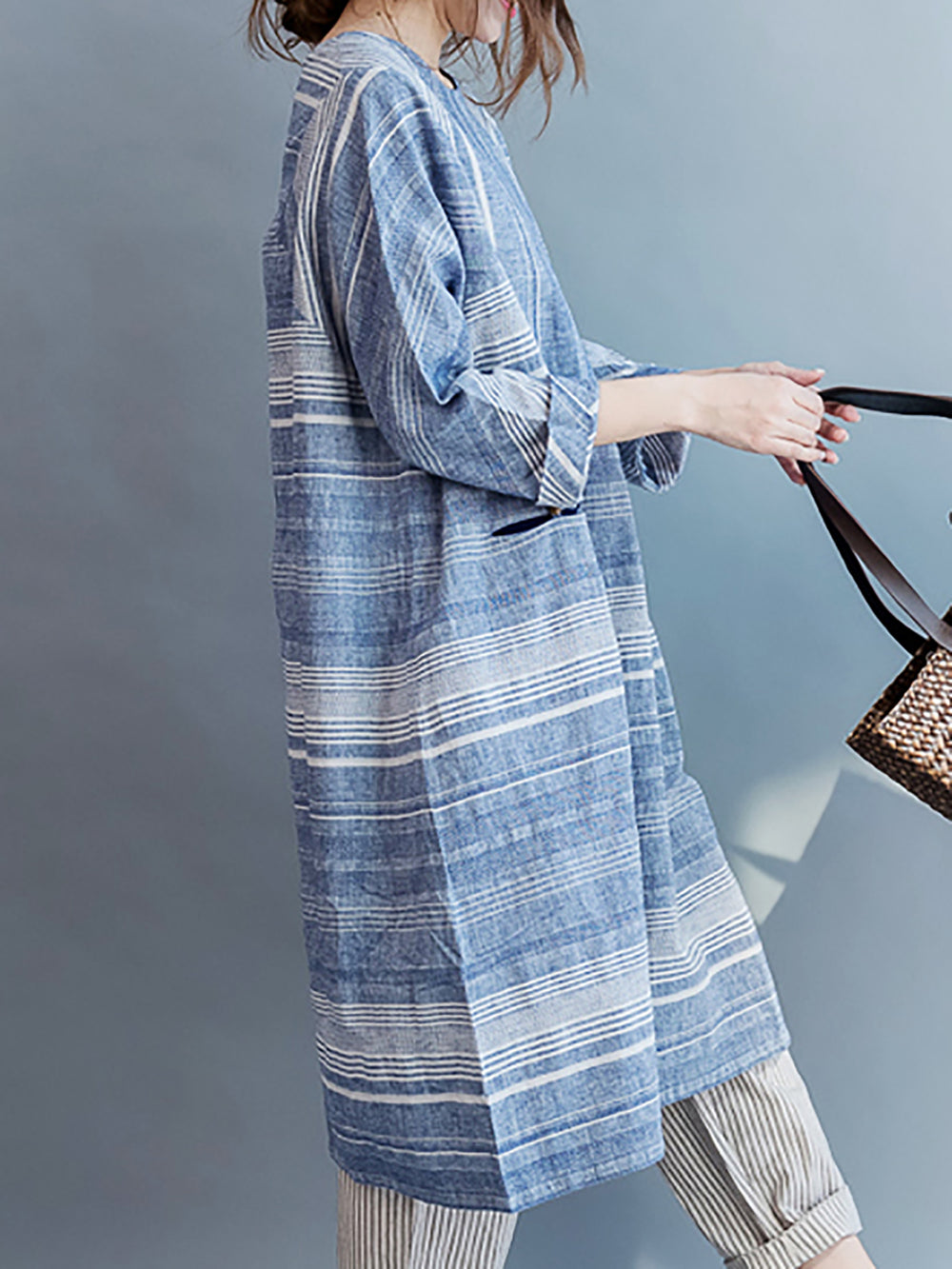 Blue Shift Buttoned Casual Linen Dress