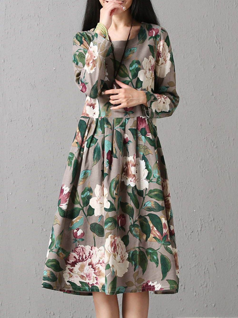 Linen Crew Neck Floral Casual Dress