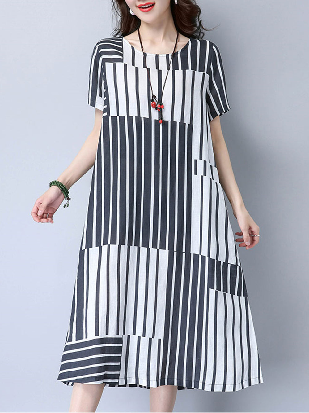 Black A-line Stripes Short Sleeve Casual Dress