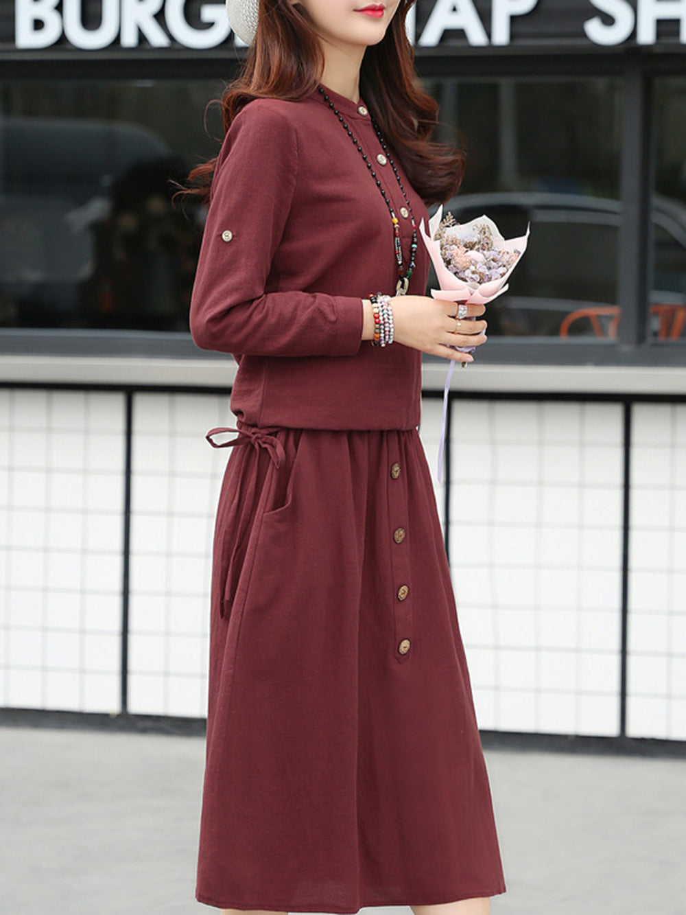 Burgundy Crew Neck Casual Two Piece Linen Dress