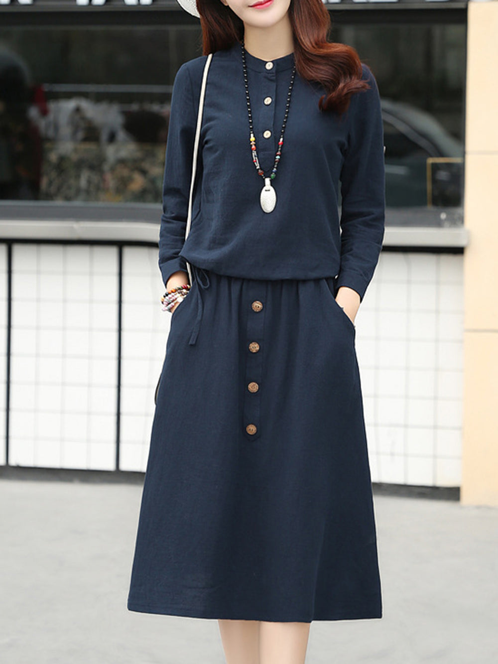 Crew Neck Pockets Casual Long Sleeve Two Pieces Dress