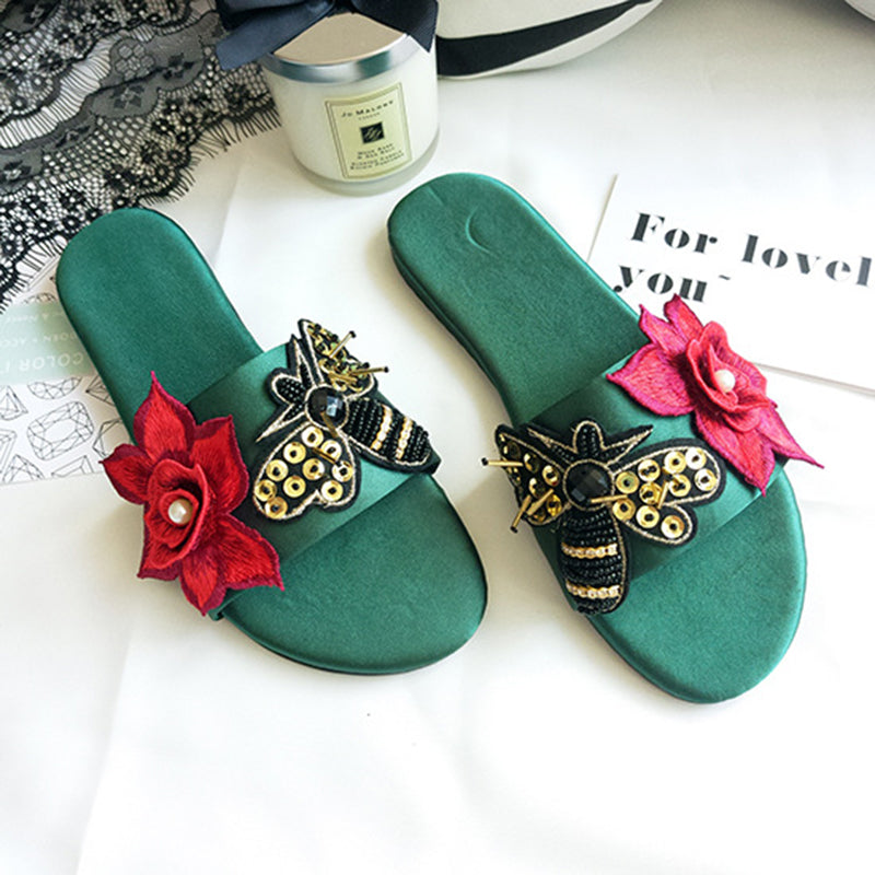 Bee Floral Embellished Single Strap Flat Slippers