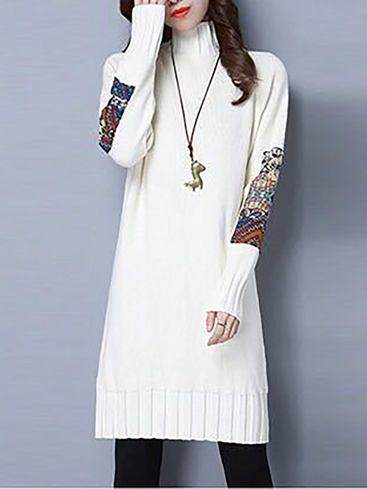 Turtleneck Cotton Casual Tribal Sweater Dress – lulagal ad837f14c
