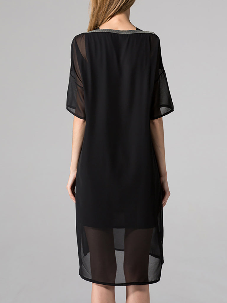 Black Basic Chiffon Solid Midi Dress