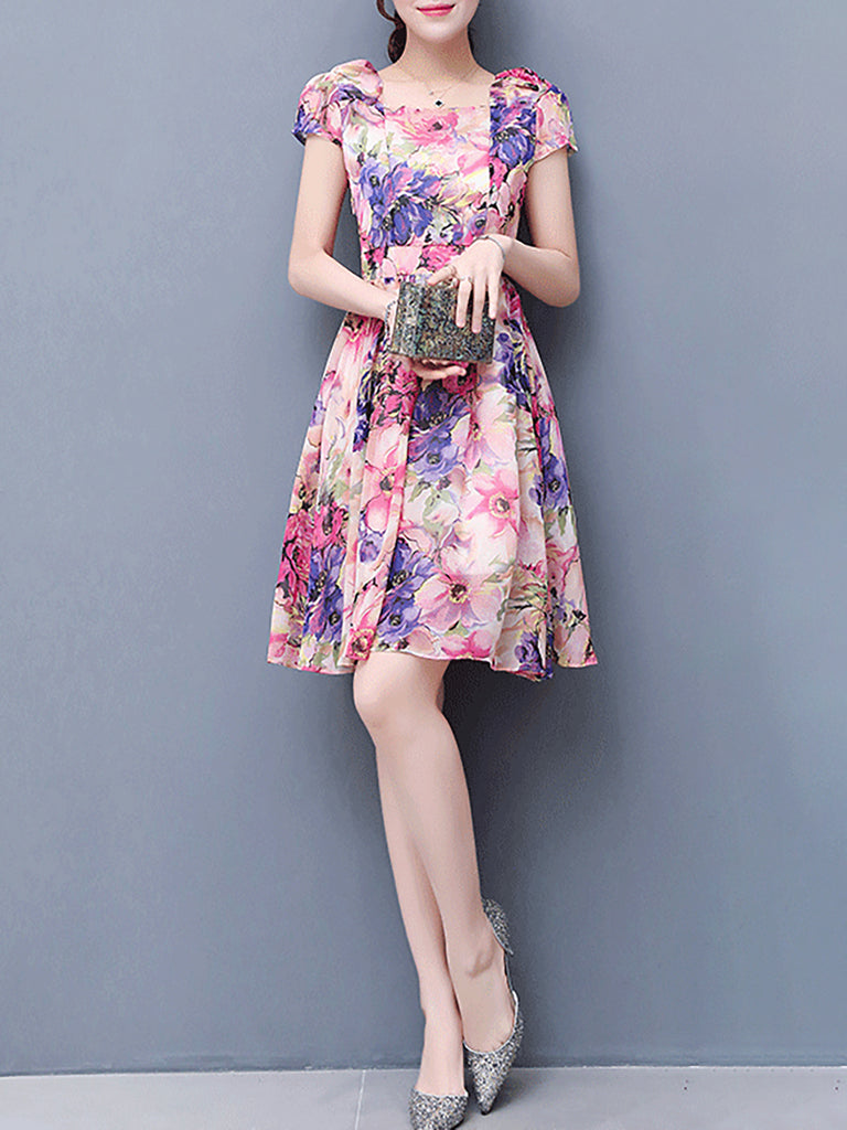 Pink Basic Printed Floral Swing Casual Dress