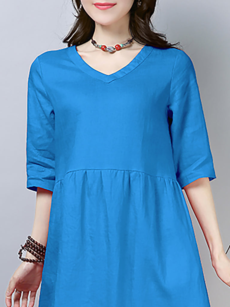 Basic Solid Shift Casual Dress