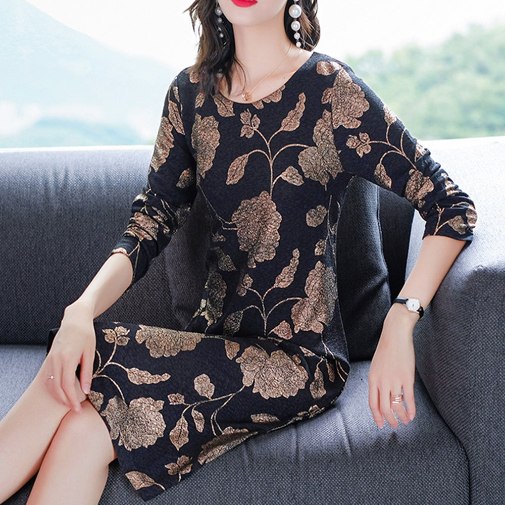Black Round Neck Floral Loose Casual Dresses