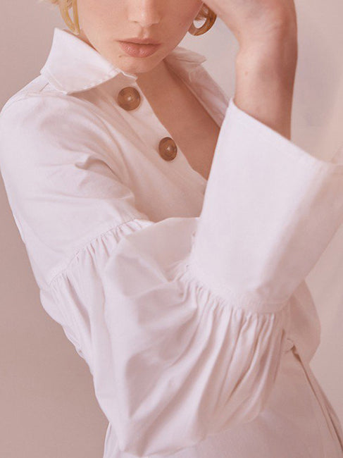 White Long Sleeve V Neck Plain Shirts & Tops