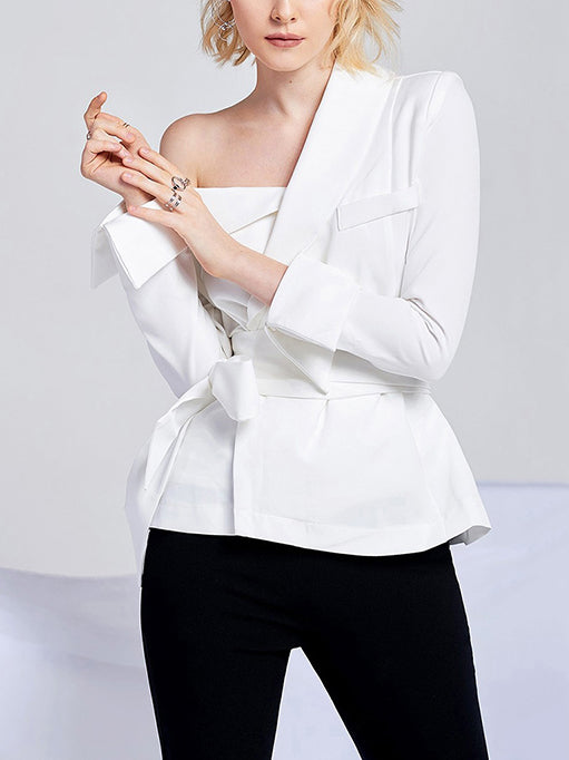 White Elegant Long Sleeve Shirts & Tops