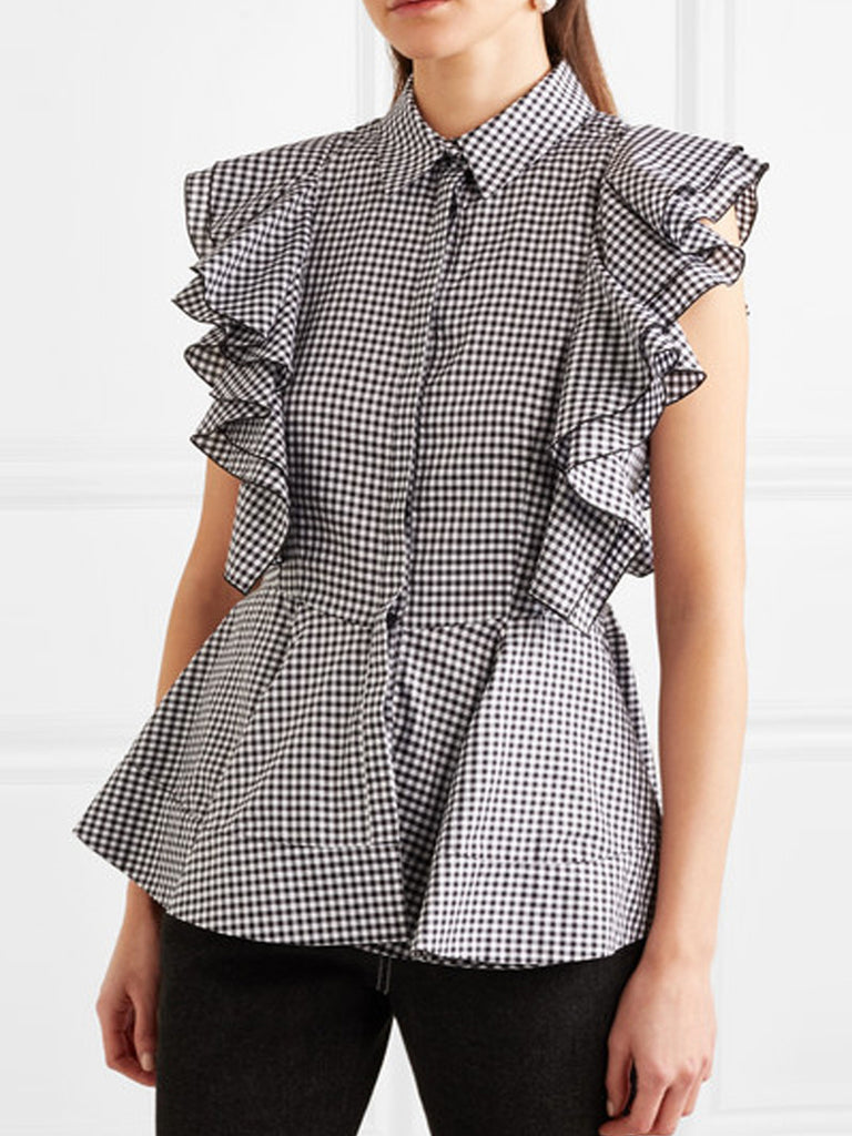 Plaid Sweet Short Sleeve Shirts & Tops
