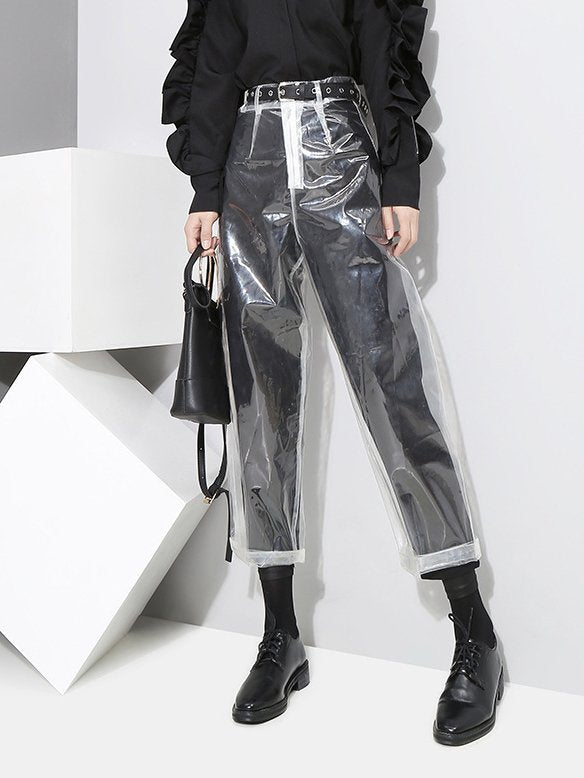 Transparent Pu Casual Pants
