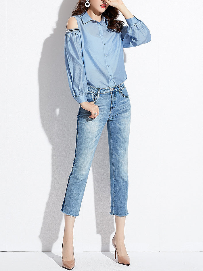 Blue Elegant Shirt Collar Shirts & Tops
